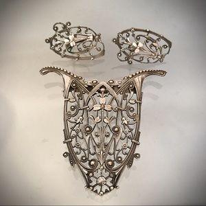 Art Nouveau Silver Tone Brooch and Earrings